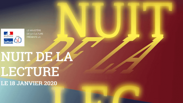 Annonce Nuit de la lecture à la Médiathèque 18 janvier 2020