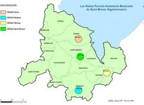 Carte des Relais Parents Assistants Maternels de l'Agglomération briochine